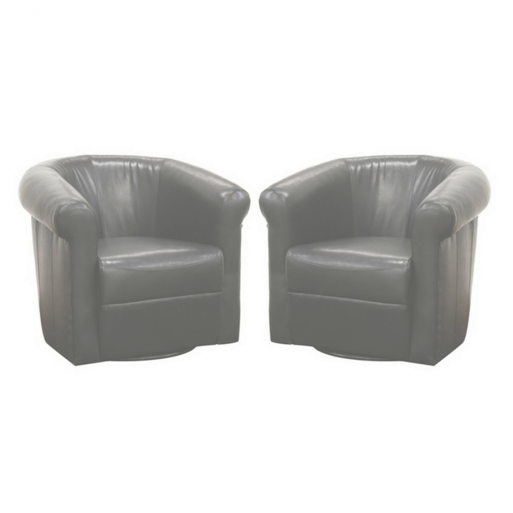 Glamorous Furniture: Magnificent Twin Black Leather Round Swivel Chair As for Black Living Room Chairs
