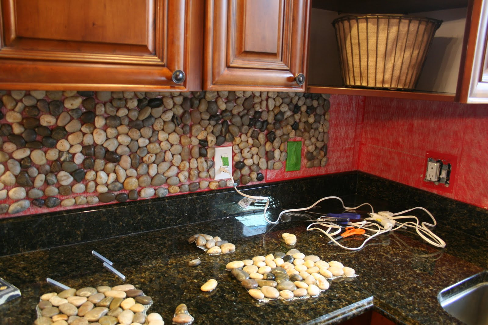 Glamorous Garden Stone Kitchen Backsplash Tutorial {How To Backsplash} within Unique How To Install Stone Backsplash