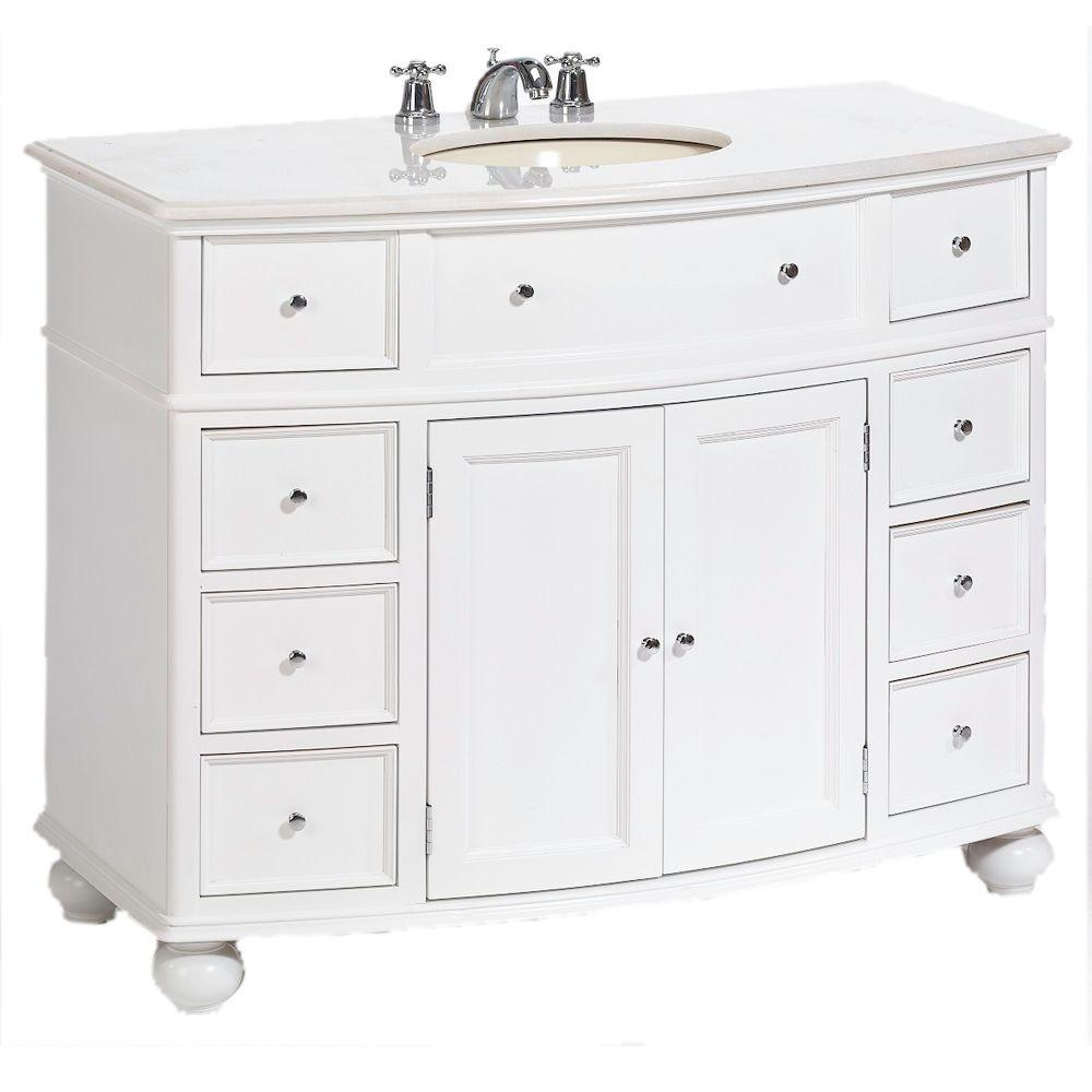 Glamorous Home Decorators Collection Hampton Harbor 45 In. W X 22 In. D Bath inside Bathroom Vanity With Top