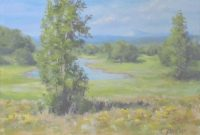 "Glamorous Karen Ilari Painting: ""summer Pond"" An Acrylic Landscape Painting throughout Fresh Landscape Painting Techniques"