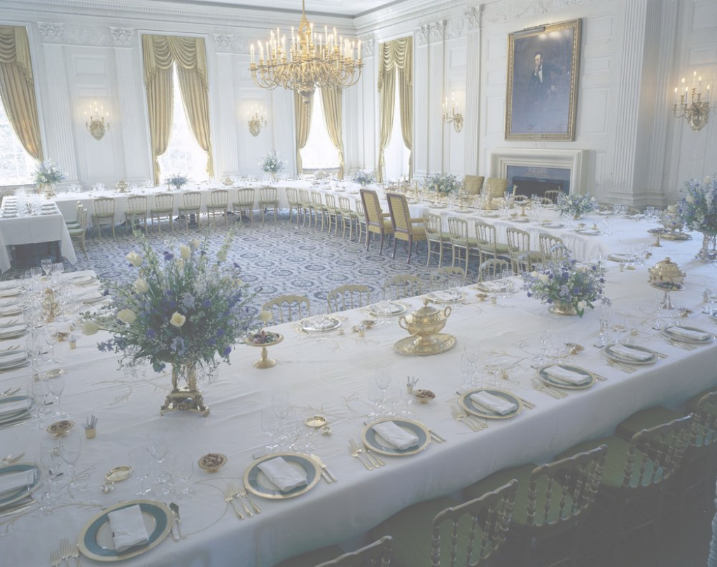 Glamorous Kn-C21497. State Dining Room, White House - John F. Kennedy in Elegant White House State Dining Room