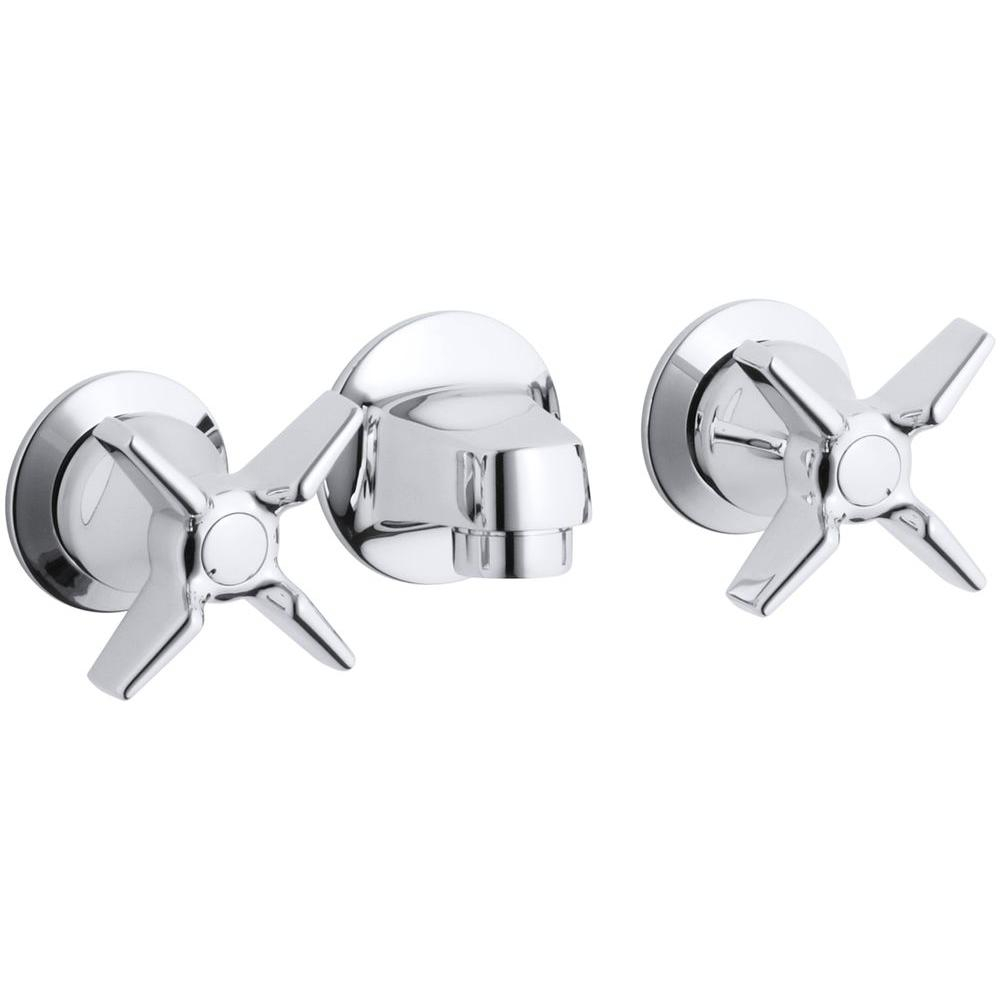 Glamorous Kohler Triton Commercial 2-Handle Wall Mount Commercial Bathroom within Review Bathroom Faucet Handles