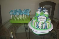 Glamorous Lime Green, Blue And White Baby Shower Cake – Cakecentral with regard to Blue And Green Baby Shower