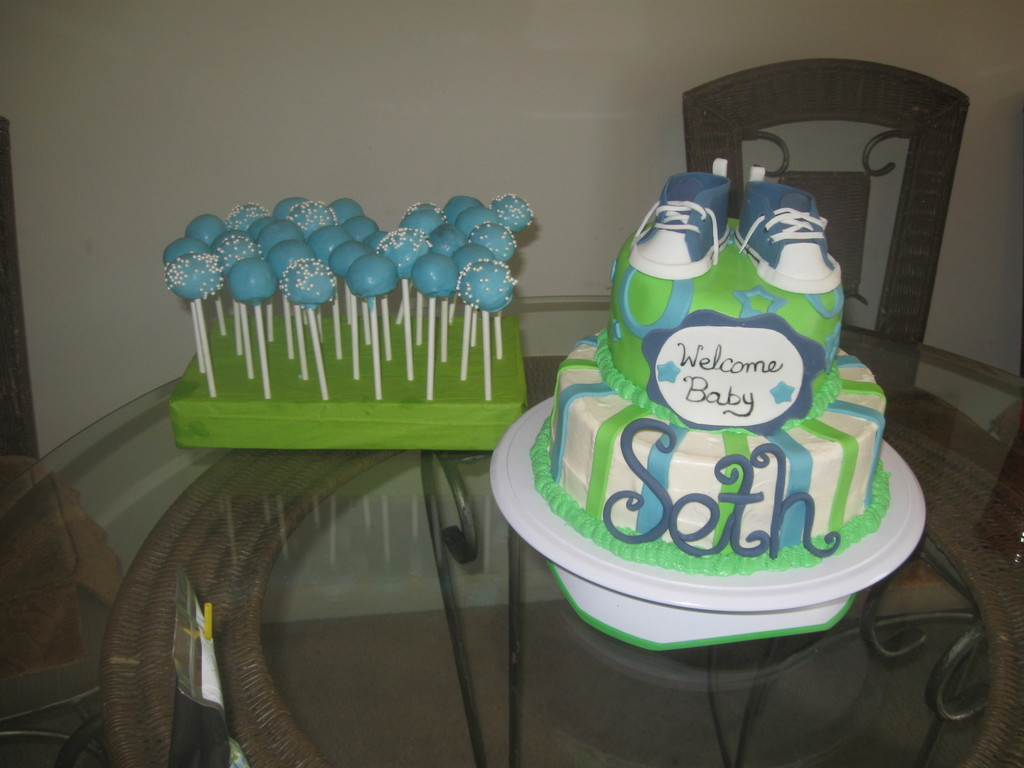 Glamorous Lime Green, Blue And White Baby Shower Cake - Cakecentral with regard to Blue And Green Baby Shower