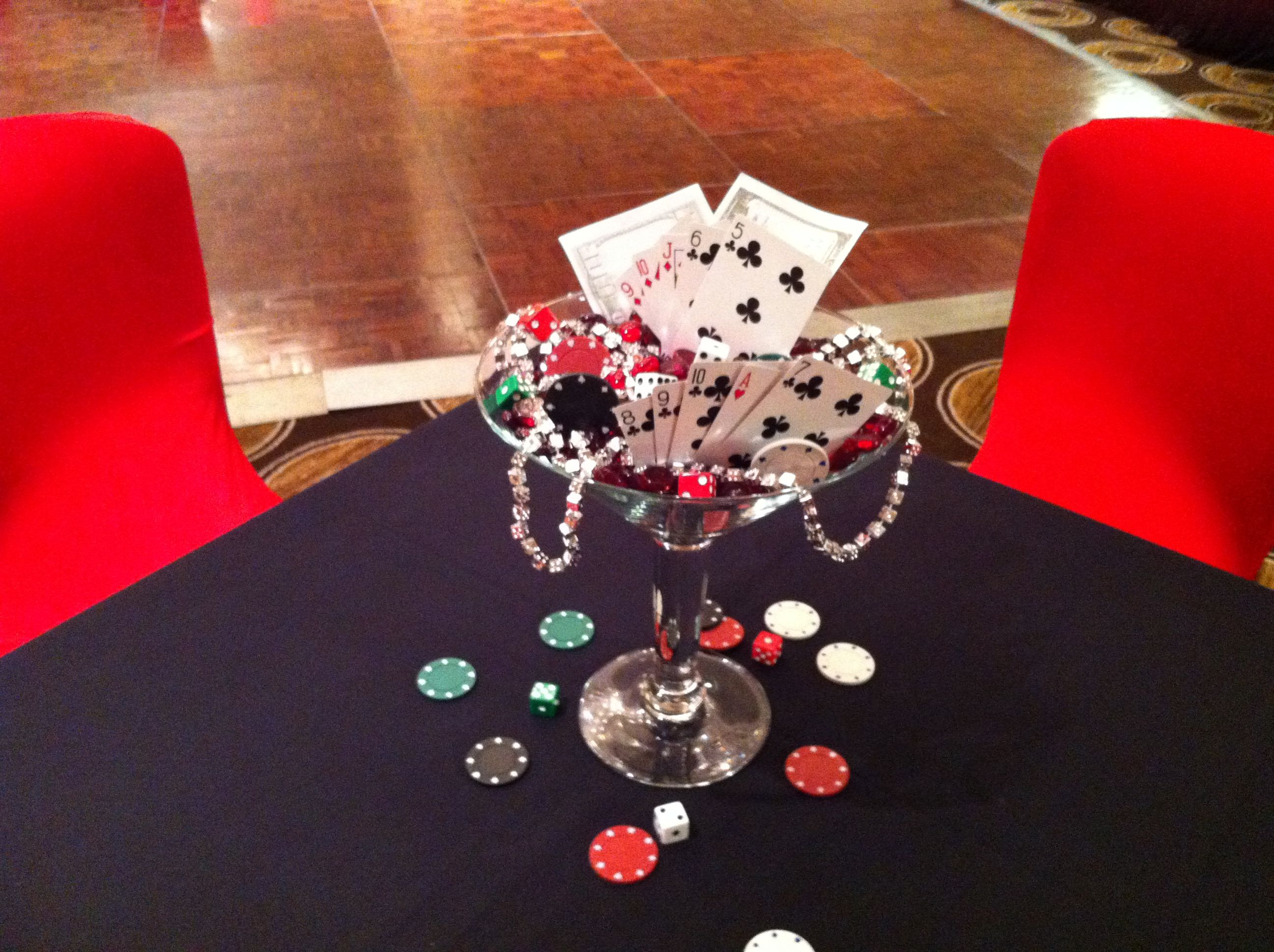 Glamorous Martini Glass Centerpiece For Casino Theme Party | Casino Theme regarding Casino Theme Party Decorations