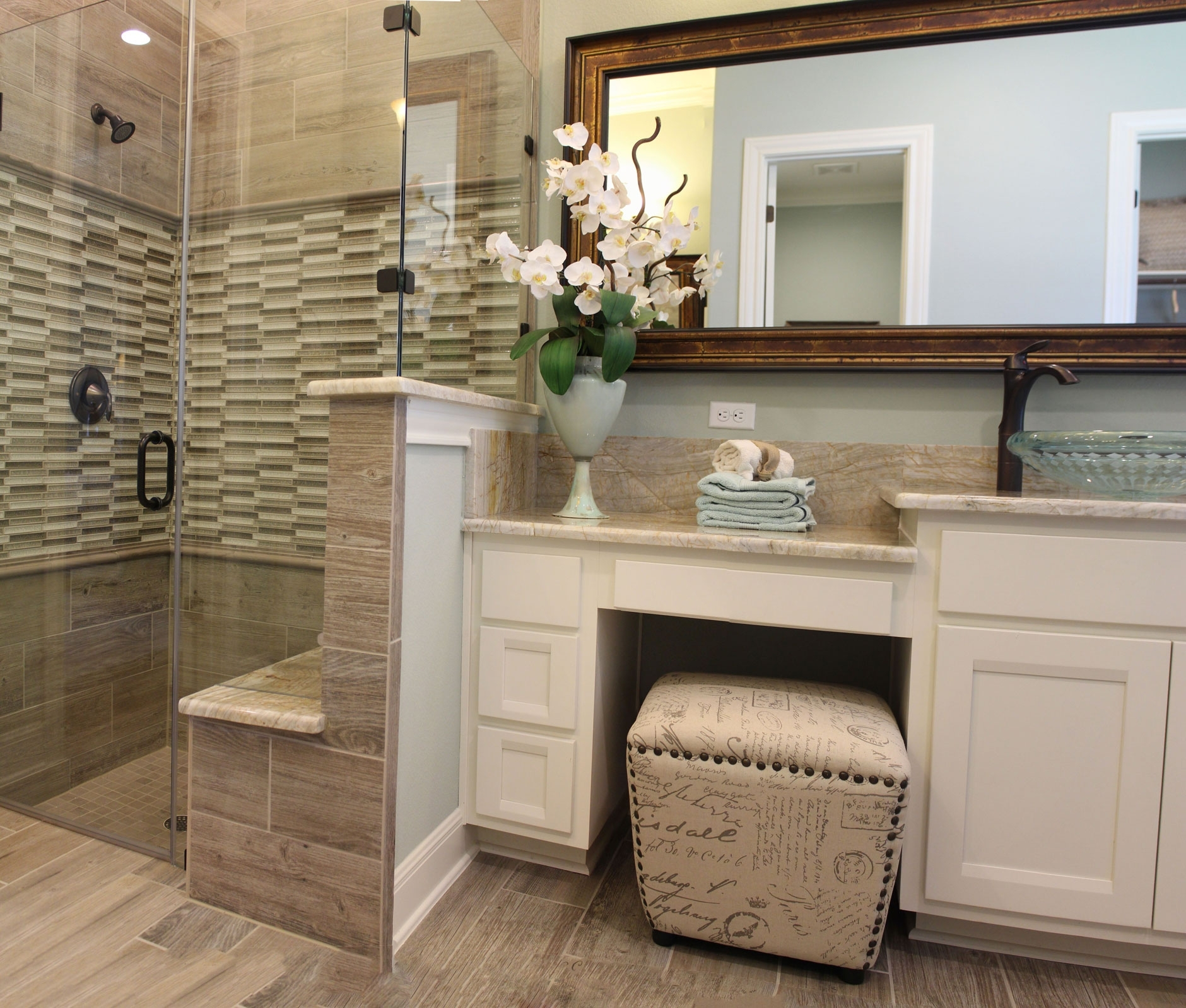 Glamorous Master Bath With White Cabinets And Vanity Seat Intended For inside Master Bathroom Vanity