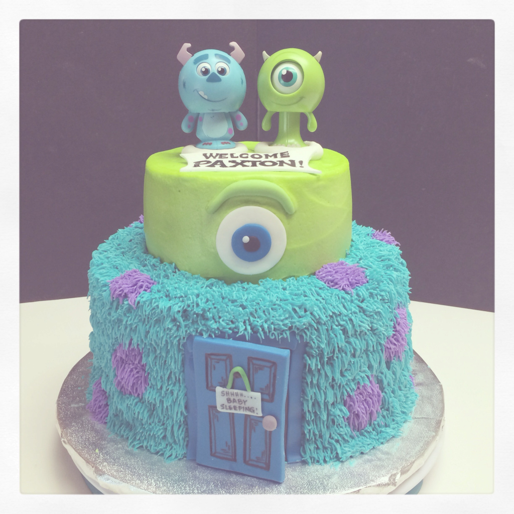 Glamorous Monsters, Inc. Baby Shower Cake. | Brayden's 1St Birthday for Monsters Inc Baby Shower Cake