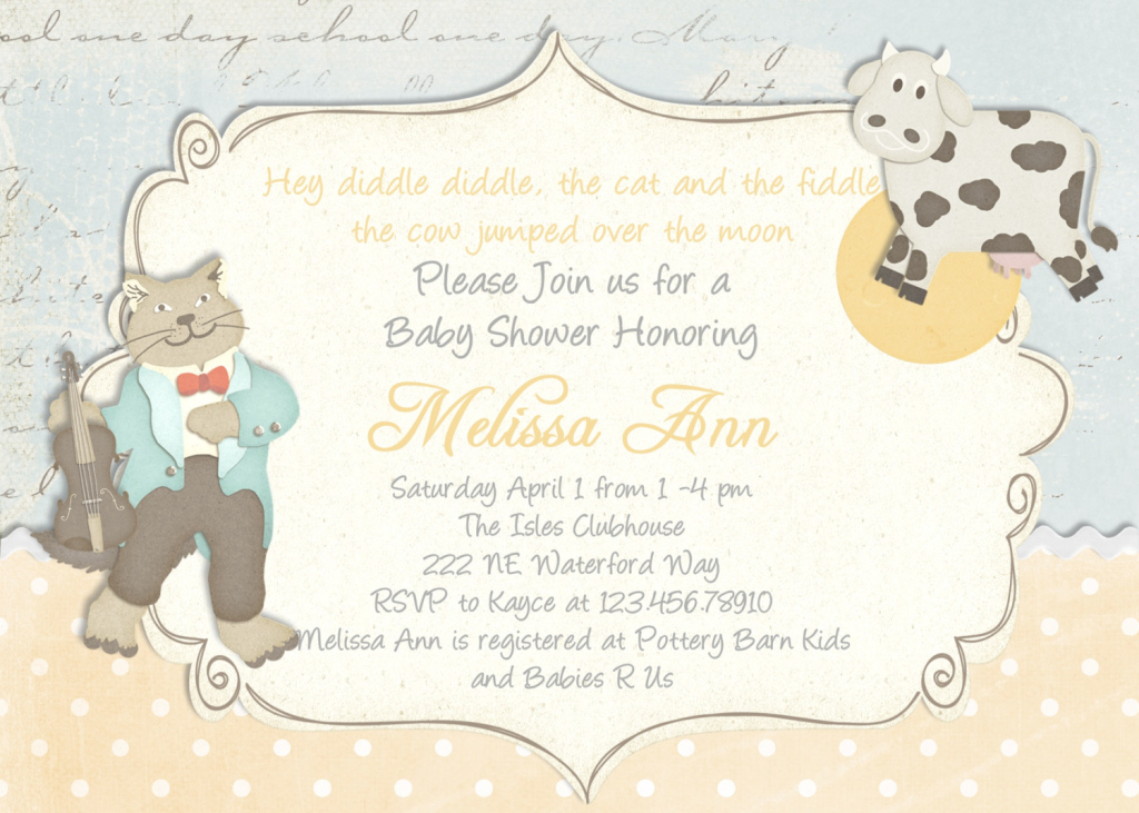 Glamorous Nursery Rhyme Baby Shower Invitation Printable And Cus On Image Of regarding Best of Baby Shower Rhymes