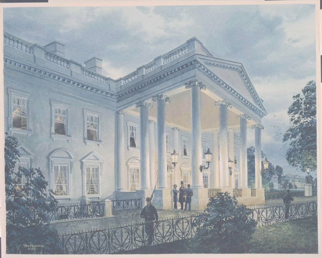 Glamorous Painting Of President Lincoln Under The North Portico - White House pertaining to Painting House White