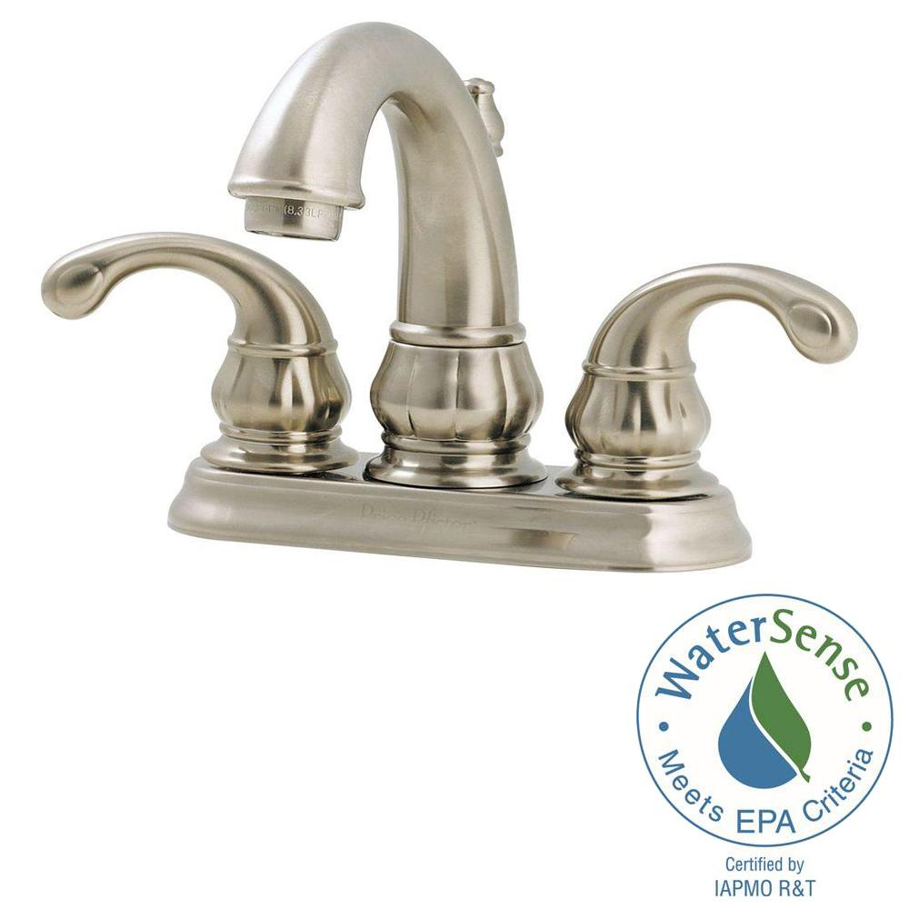 Glamorous Pfister Treviso 4 In. Centerset 2-Handle Bathroom Faucet In Brushed intended for Price Pfister Bathroom Faucet