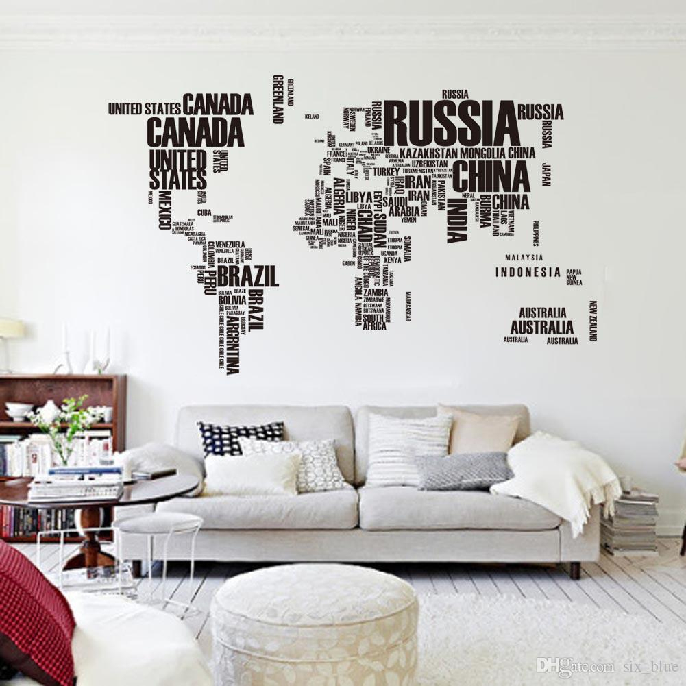 Glamorous Pvc Poster Letter World Map Quote Removable Vinyl Art Decals Mural for Inspirational Living Room Decals