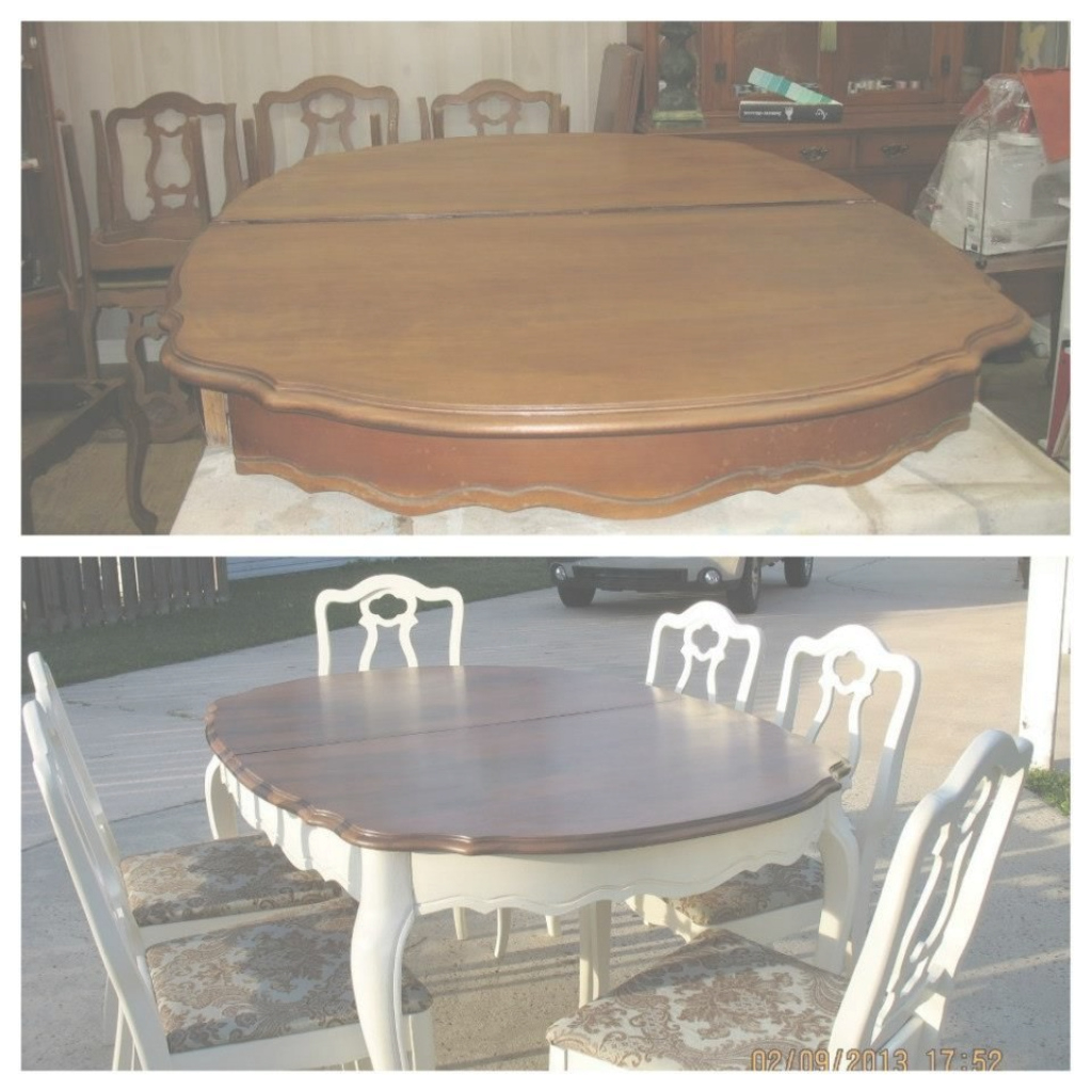 Glamorous Refinish Dining Room Table Before And After White Base From Luxury in How To Refinish A Dining Room Table