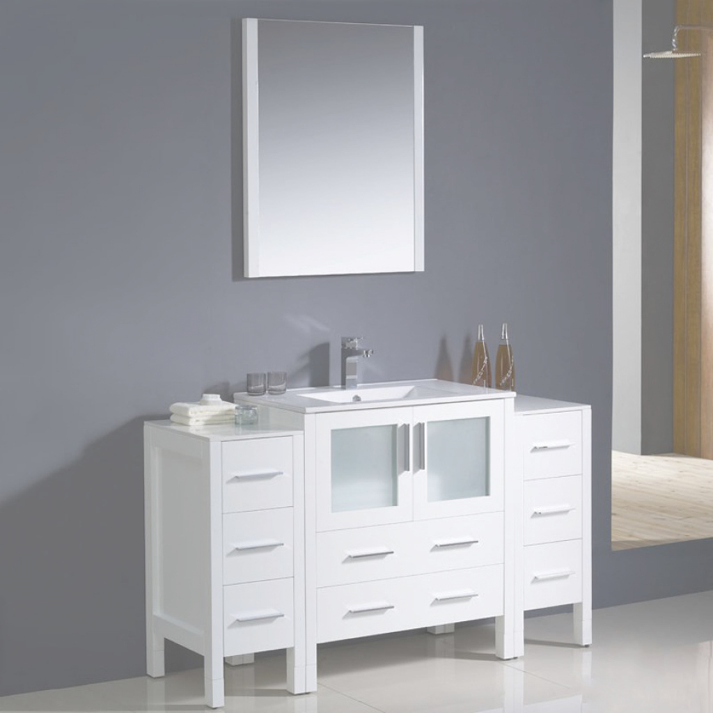 Glamorous Shop Fresca Torino White Single Sink Vanity With White Ceramic Top within Beautiful 54 Bathroom Vanity