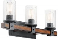 Glamorous Shop Kichler Barrington 3-Light 22-In Distressed Black And Wood throughout Black Bathroom Vanity Light