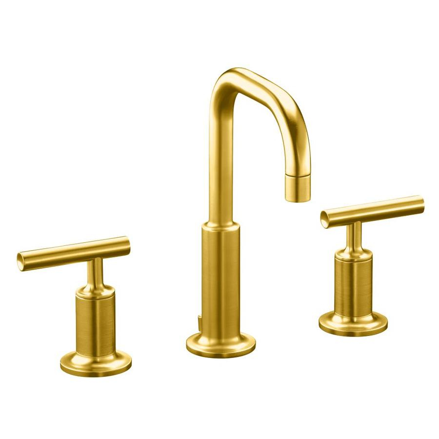 Glamorous Shop Kohler Purist Vibrant Modern Brushed Gold 1-Handle Single Hole for Gold Faucet Bathroom