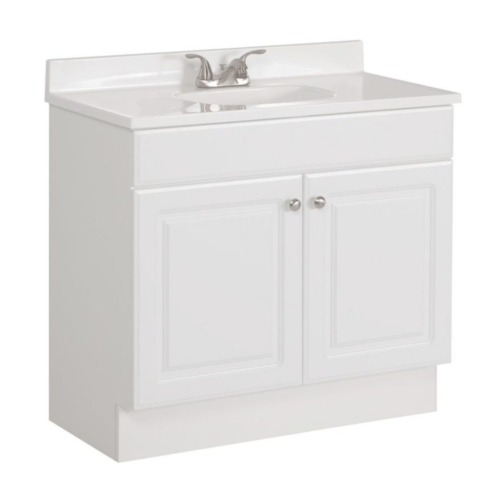 Glamorous Shop Project Source White Single Sink Vanity With White Cultured throughout 36 White Bathroom Vanity