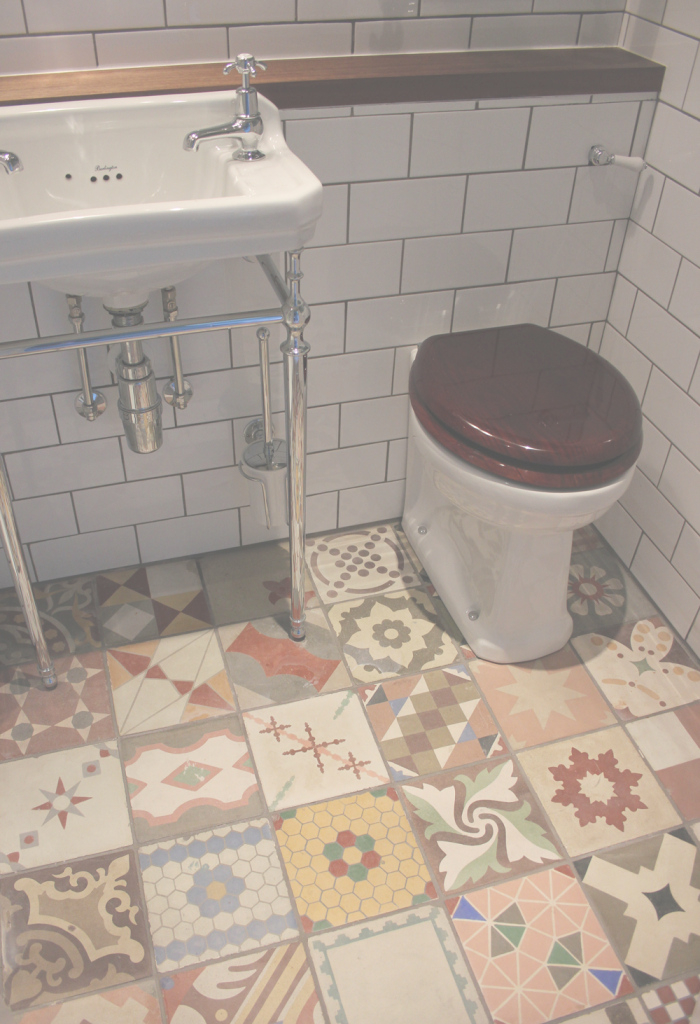 Glamorous Small Bathroom Flooring Ideas With Mixed Antique Tiles - Hupehome within Good quality Cheap Bathroom Flooring
