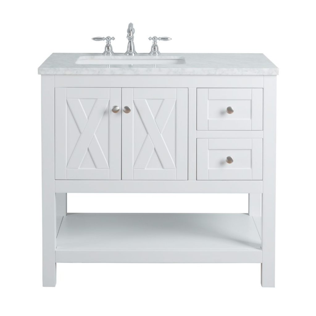 Glamorous Stufurhome Anabelle 36 In. White Single Sink Bathroom Vanity With throughout Inspirational Single Sink Bathroom Vanity