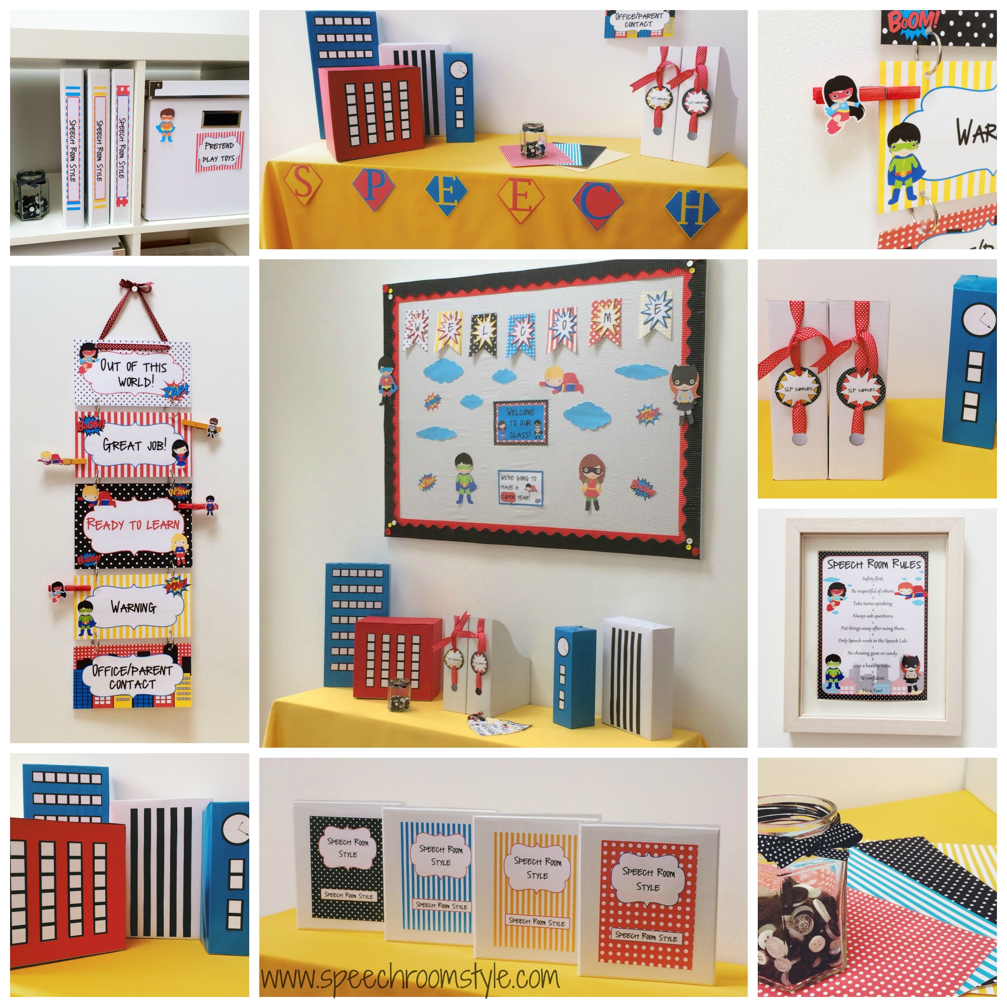 Glamorous Superhero Theme Classroom Decor - Speech Room Style intended for Classroom Decorating Themes