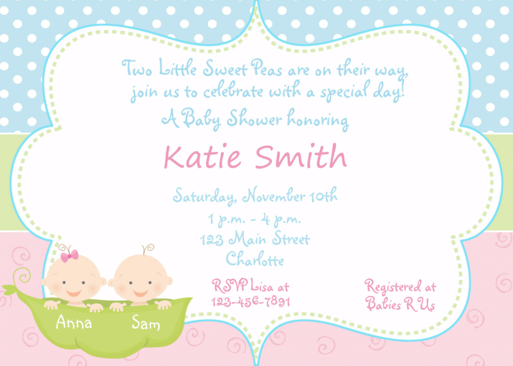 Glamorous Templates : Sophisticated Twin Baby Shower Invitations Download With regarding Baby Shower Invitations For Twins