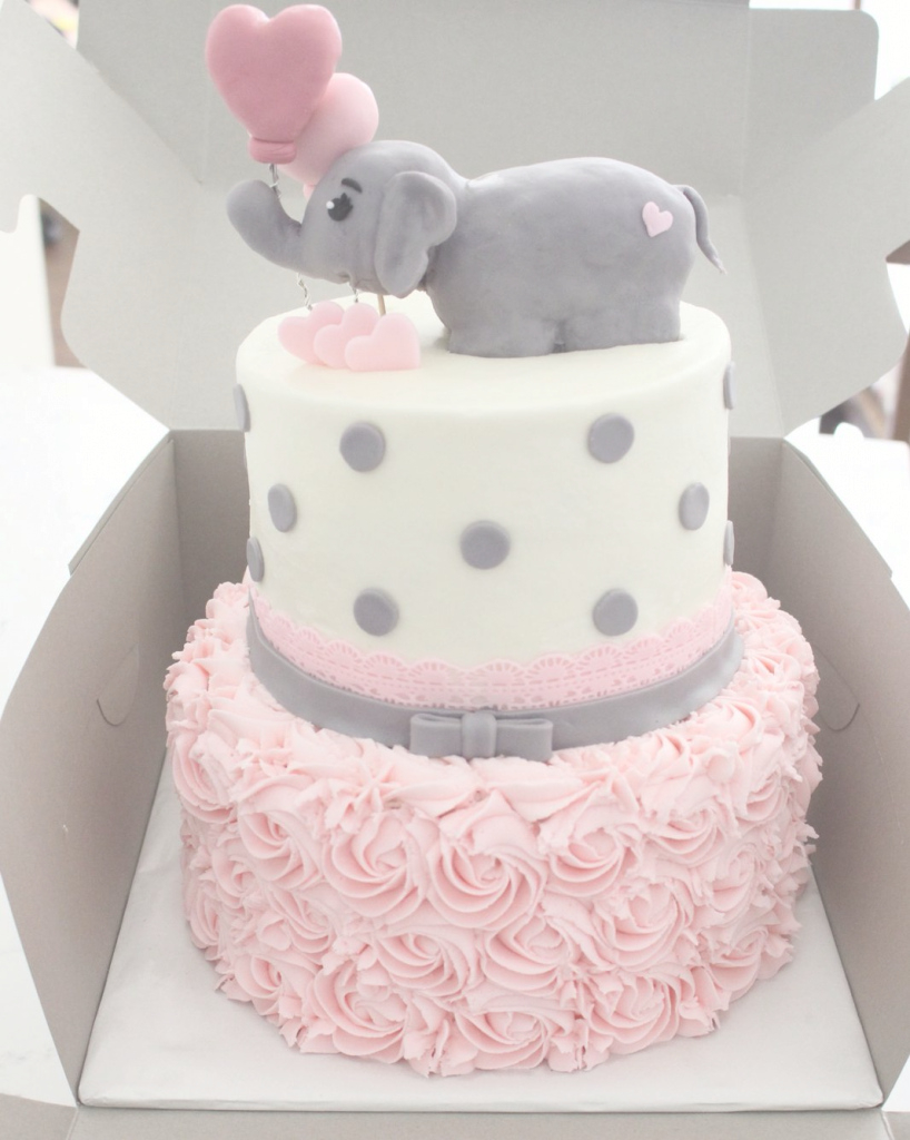 Glamorous The White Kitten Bakes - Girl Baby Shower Elephant Theme | Baby inside Pasteles Para Baby Shower Niña