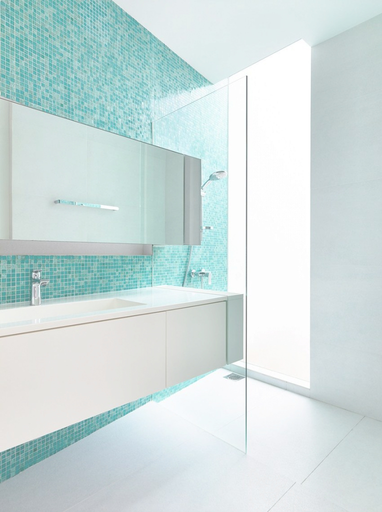 Glamorous White Bathroom Combined With A Beautiful Blue Mosaic Feature Wall inside Blue Mosaic Bathroom
