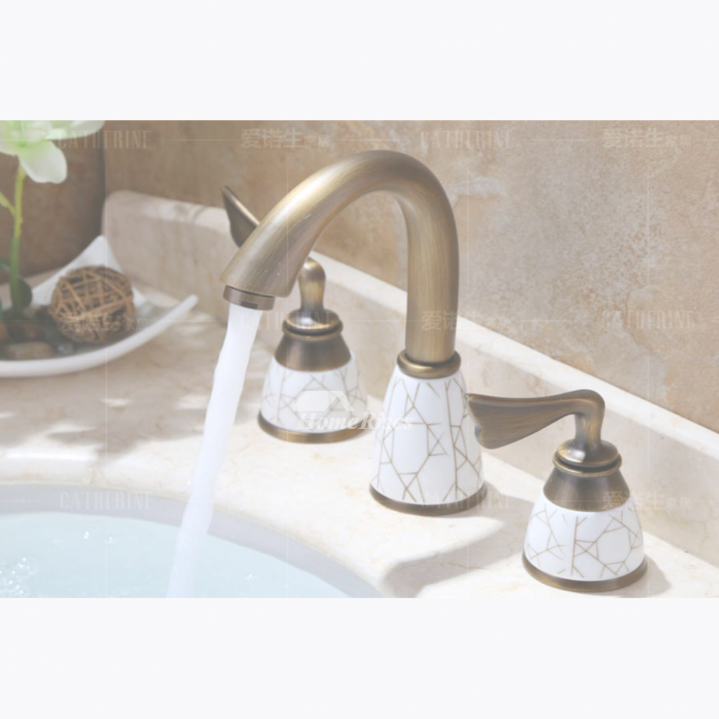 Glamorous Widespread Antique Brass Ceramic Unique Bathroom Faucets Gold with regard to Inspirational Antique Gold Bathroom Faucets