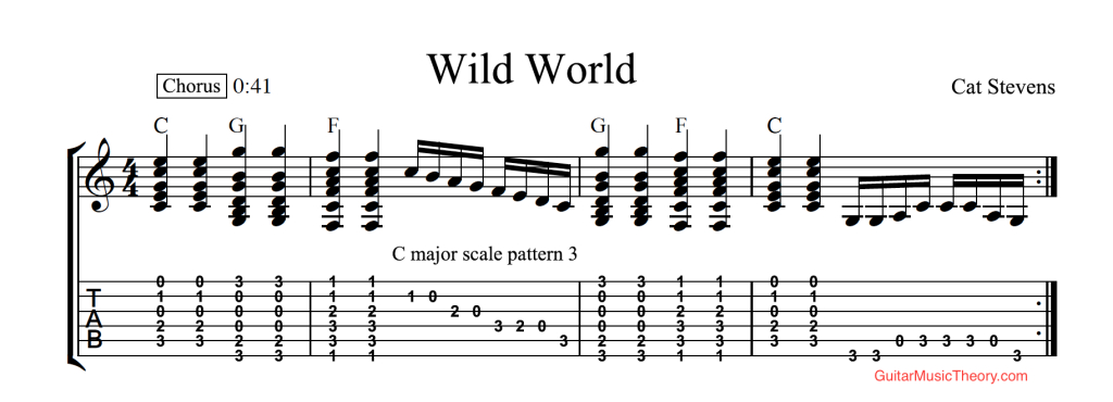 Glamorous Wild World Chords Tab Cat Stevens Guitar C Major Scale | Guitar with Fresh Bungalow Bill Chords