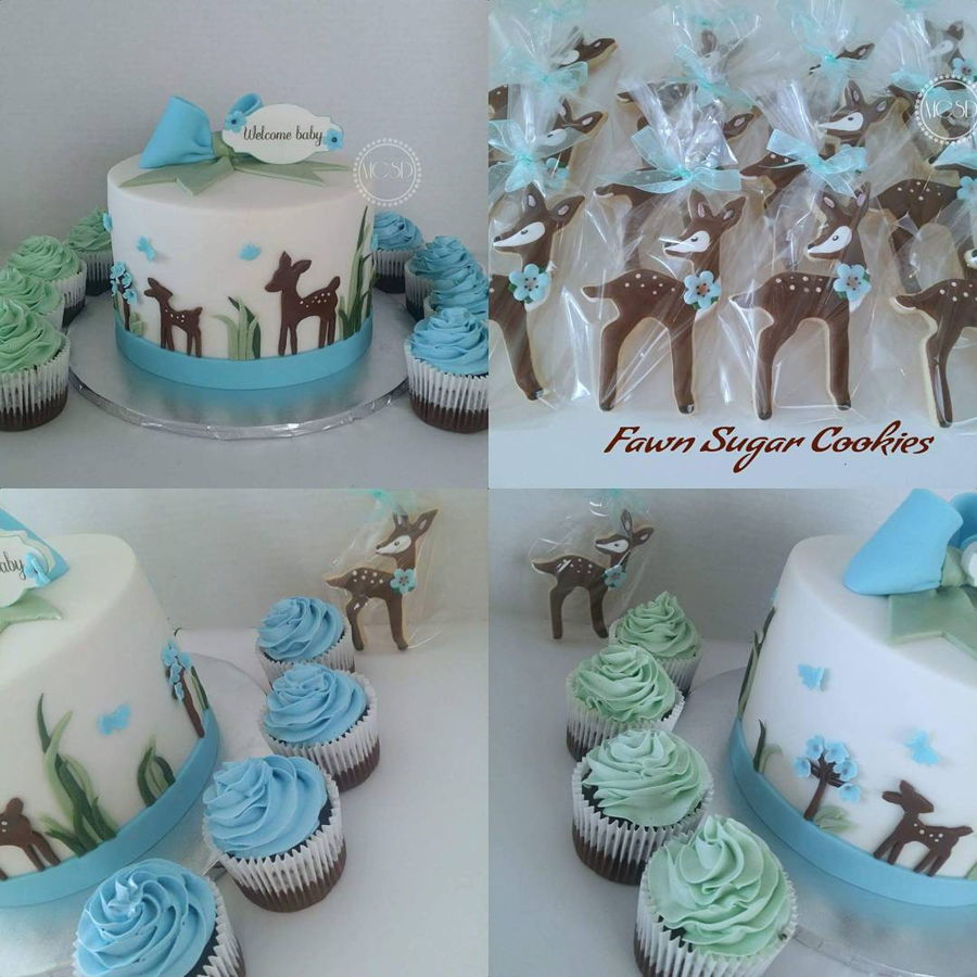 Glamorous Woodland Deer Baby Shower Cake & Cupcakes - Cakecentral in Deer Baby Shower Cake