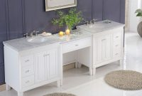 Inspirational 103-Inch Carrara Marble Top Bathroom Double Sink Cabinet Vanity in Unique Bathroom Double Sink Cabinets