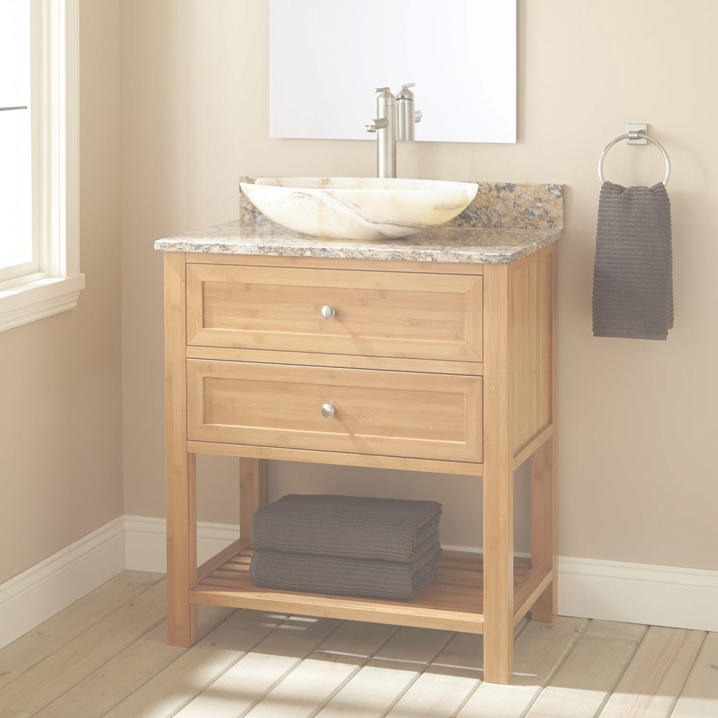 "Inspirational 30"" Narrow Depth Taren Bamboo Vessel Sink Vanity - Bathroom with Bamboo Bathroom Vanity"