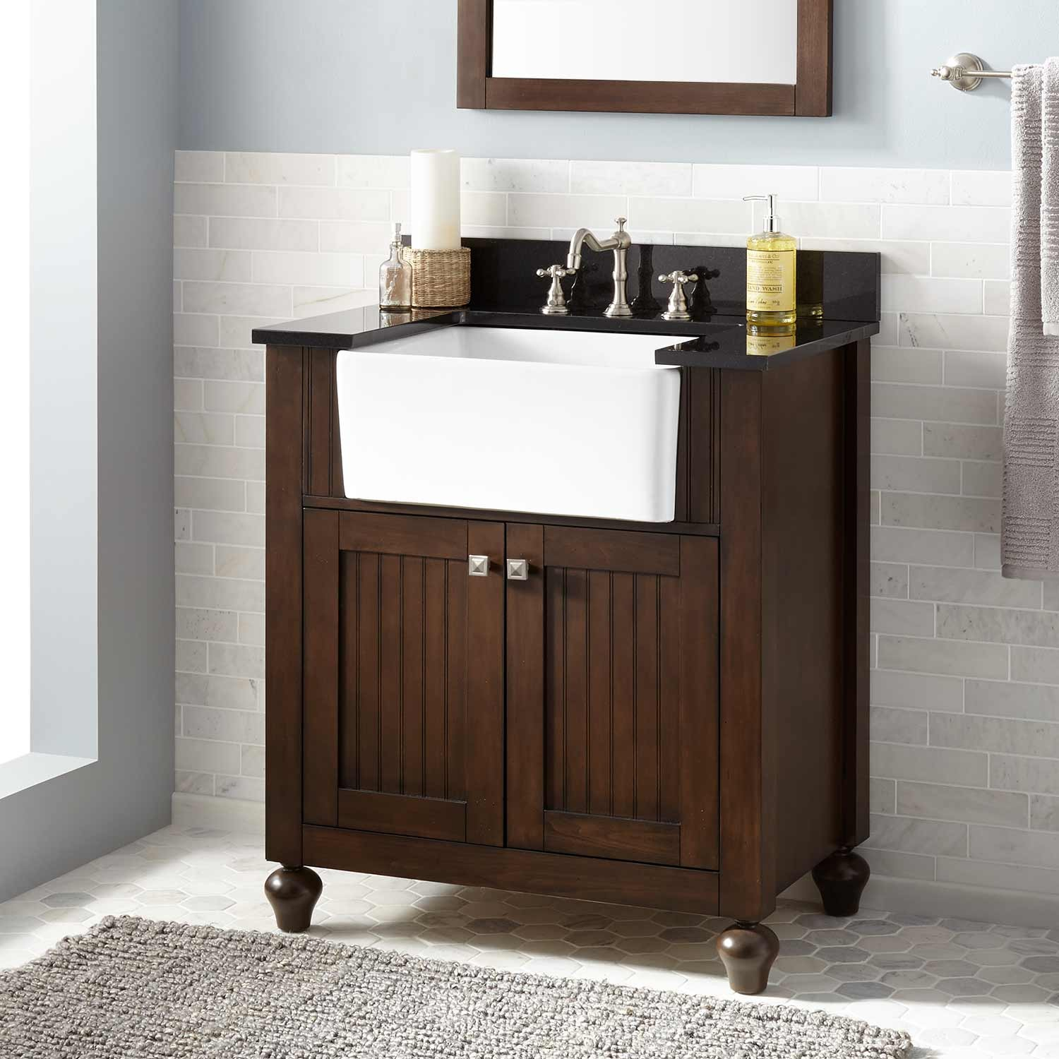 "Inspirational 30"" Nellie Farmhouse Sink Vanity - Antique Coffee - Bathroom in Good quality Bathroom Farm Sink Vanity"