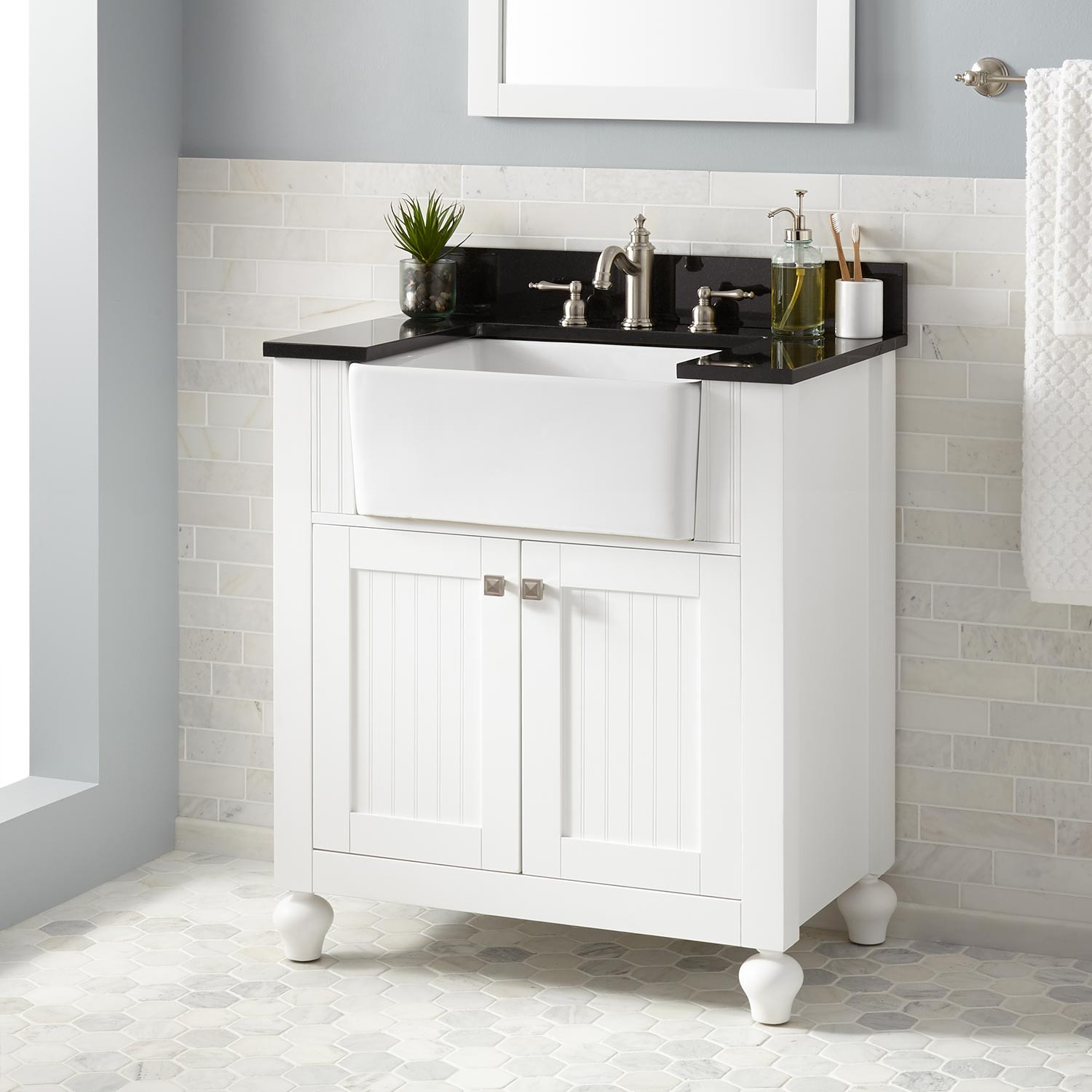 "Inspirational 30"" Nellie Farmhouse Sink Vanity - White - Bathroom for Farmhouse Sink In Bathroom"