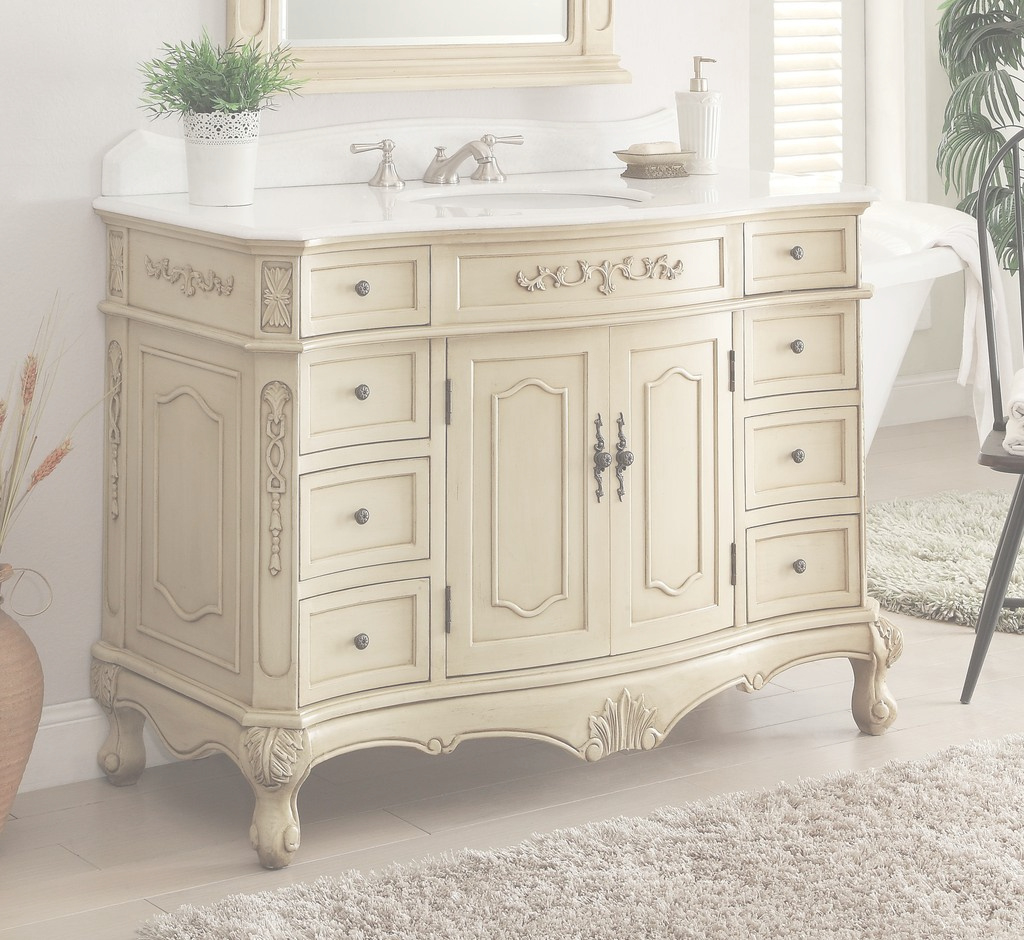 "Inspirational 42"" Classsic Style Pastel Beige Fairmont Bathroom Sink Vanity Bc pertaining to Elegant Fairmont Bathroom Vanity"