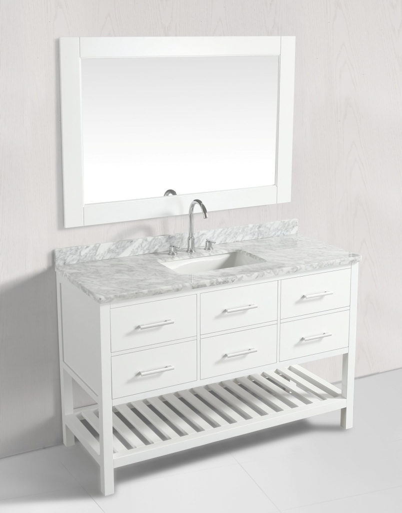 Inspirational 54 Inch Transitional Single Sink Bathroom Vanity Set White Finish regarding 54 Bathroom Vanity