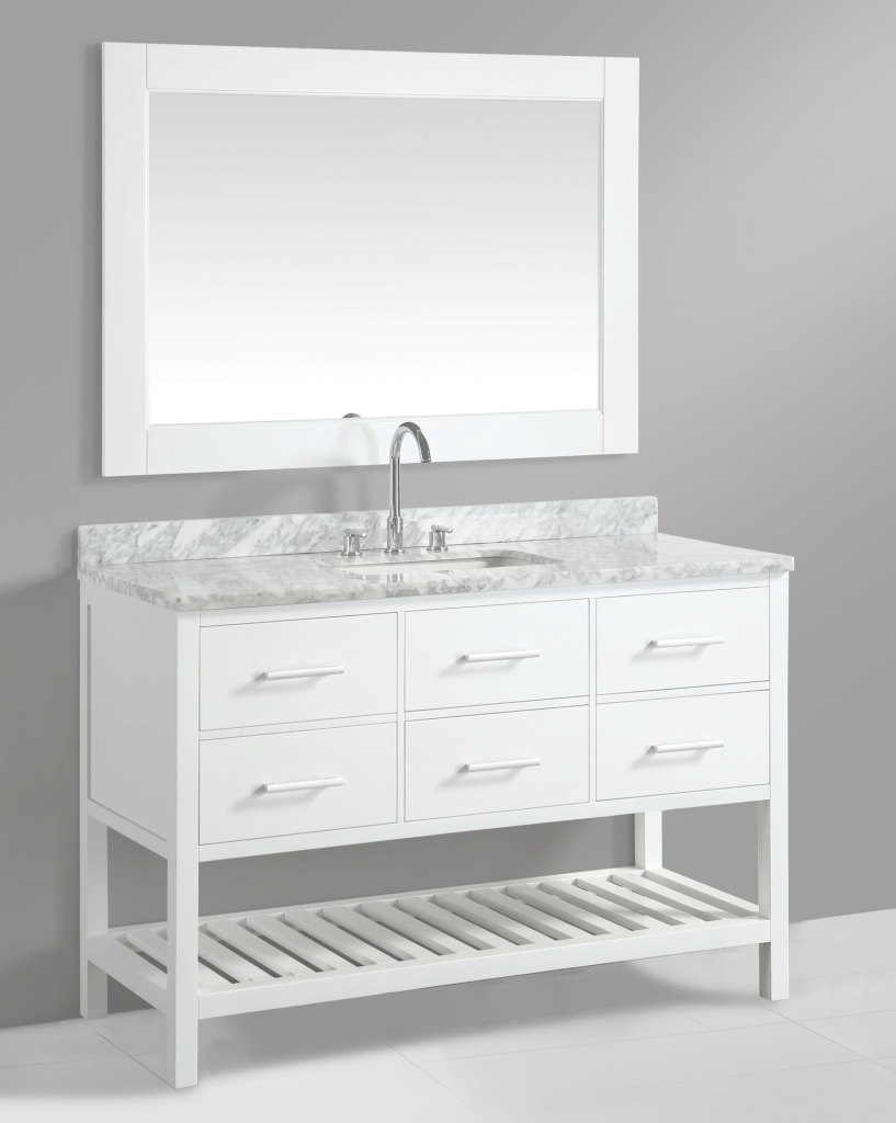 Inspirational 54 Inch Transitional Single Sink Bathroom Vanity Set White Finish throughout Beautiful 54 Bathroom Vanity
