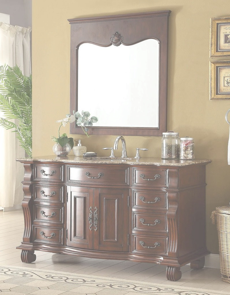 "Inspirational 60"" Benton Collection Old World Hopkinton Bathroom Sink Vanity with High Quality Bathroom Sink Mirror"