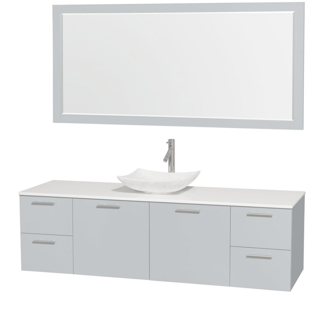"Inspirational 72"" Amare Single Bathroom Vanity In Dove Gray And 70 Inch regarding 70 Inch Bathroom Vanity"