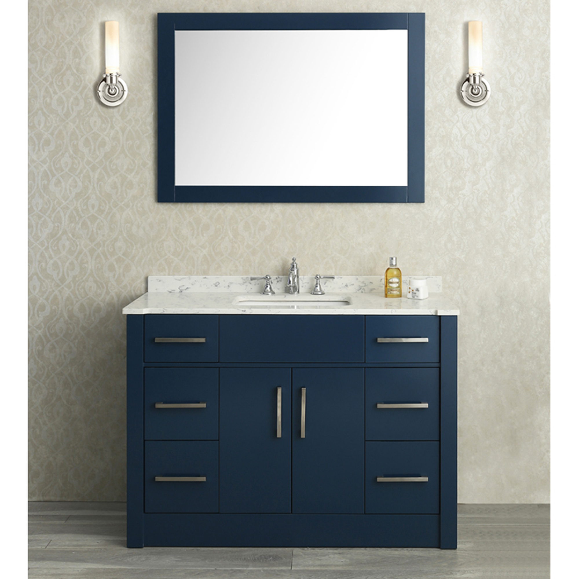 "Inspirational Ace 48"" Single Sink Bathroom Vanity Set Midnight Blue Finish pertaining to Blue Bathroom Vanity Cabinet"