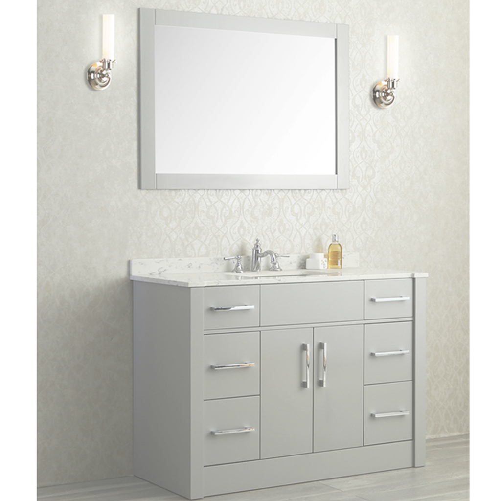 "Inspirational Ace 48"" Single Sink Bathroom Vanity Set Taupe Grey Finish with Single Sink Bathroom Vanity"