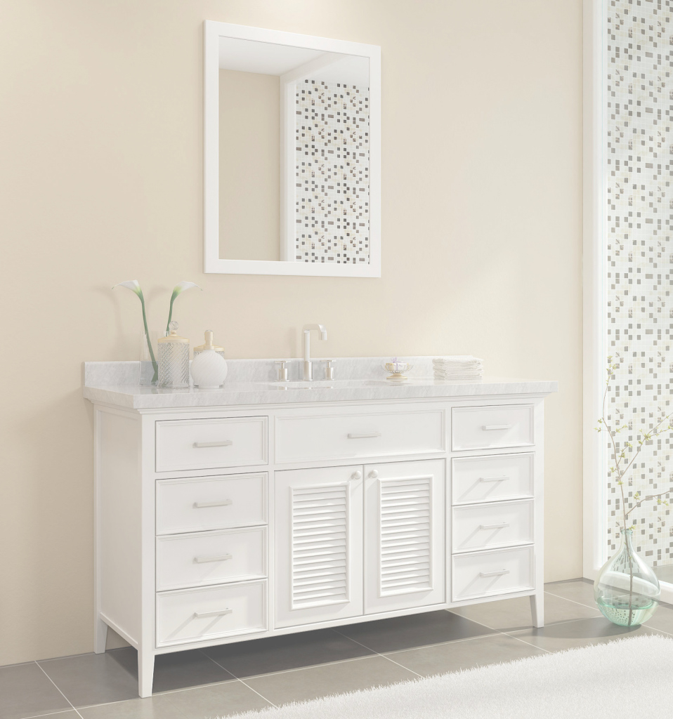 Inspirational Ace Kensington 61 Inch Single Sink Bathroom Vanity Set In White Finish pertaining to Inspirational Single Sink Bathroom Vanity