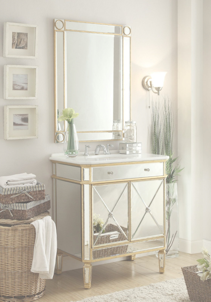 Inspirational Adelina 32 Inch Mirrored Gold Bathroom Vanity & Mirror | Bathroom inside Inspirational Gold Bathroom Mirror