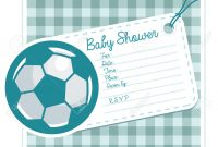 Inspirational Baby Shower Invitation Card With Soccer Ball Royalty Free Cliparts within Invitaciones Para Baby Shower De Niño