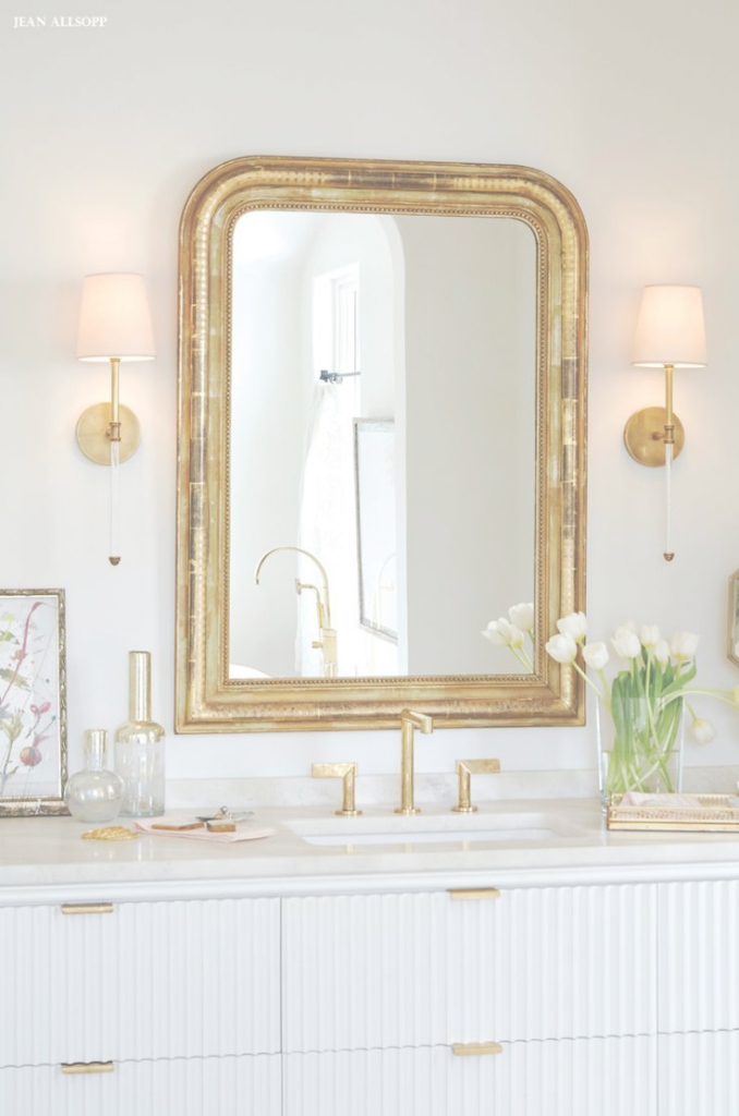Inspirational Bathed In Beauty | Pinterest | Gold Framed Mirror, Circa Lighting pertaining to Inspirational Gold Bathroom Mirror