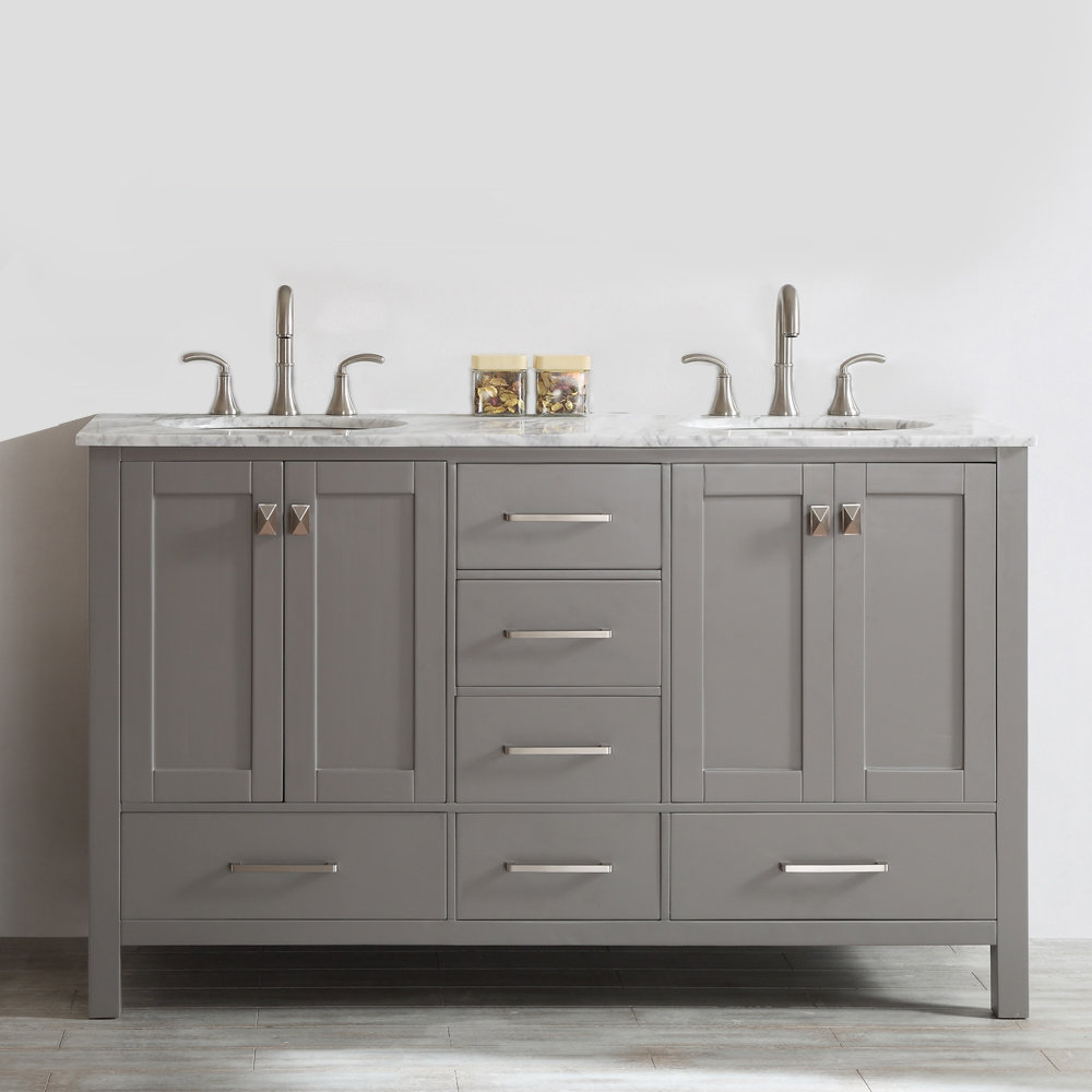 "Inspirational Beachcrest Home Newtown 60"" Double Bathroom Vanity & Reviews 