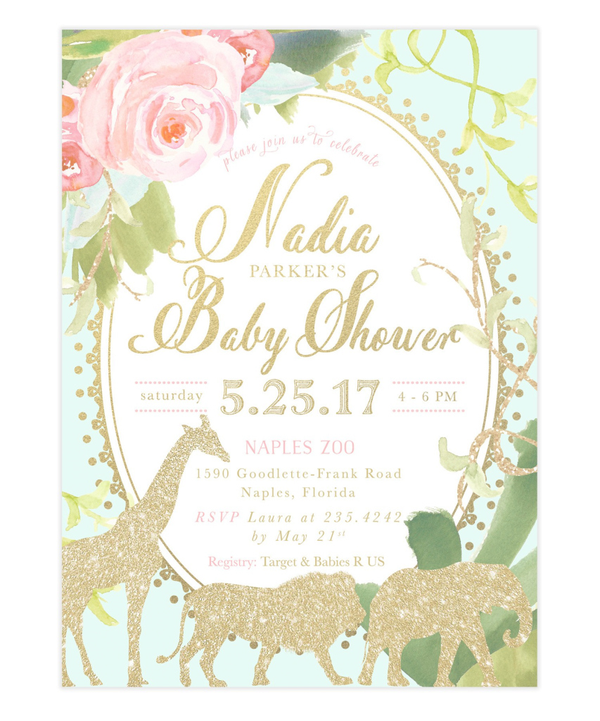 Inspirational Beautiful Of Baby Shower Invites For Girl Glam Safari Jungle Baby throughout Baby Shower Invitations