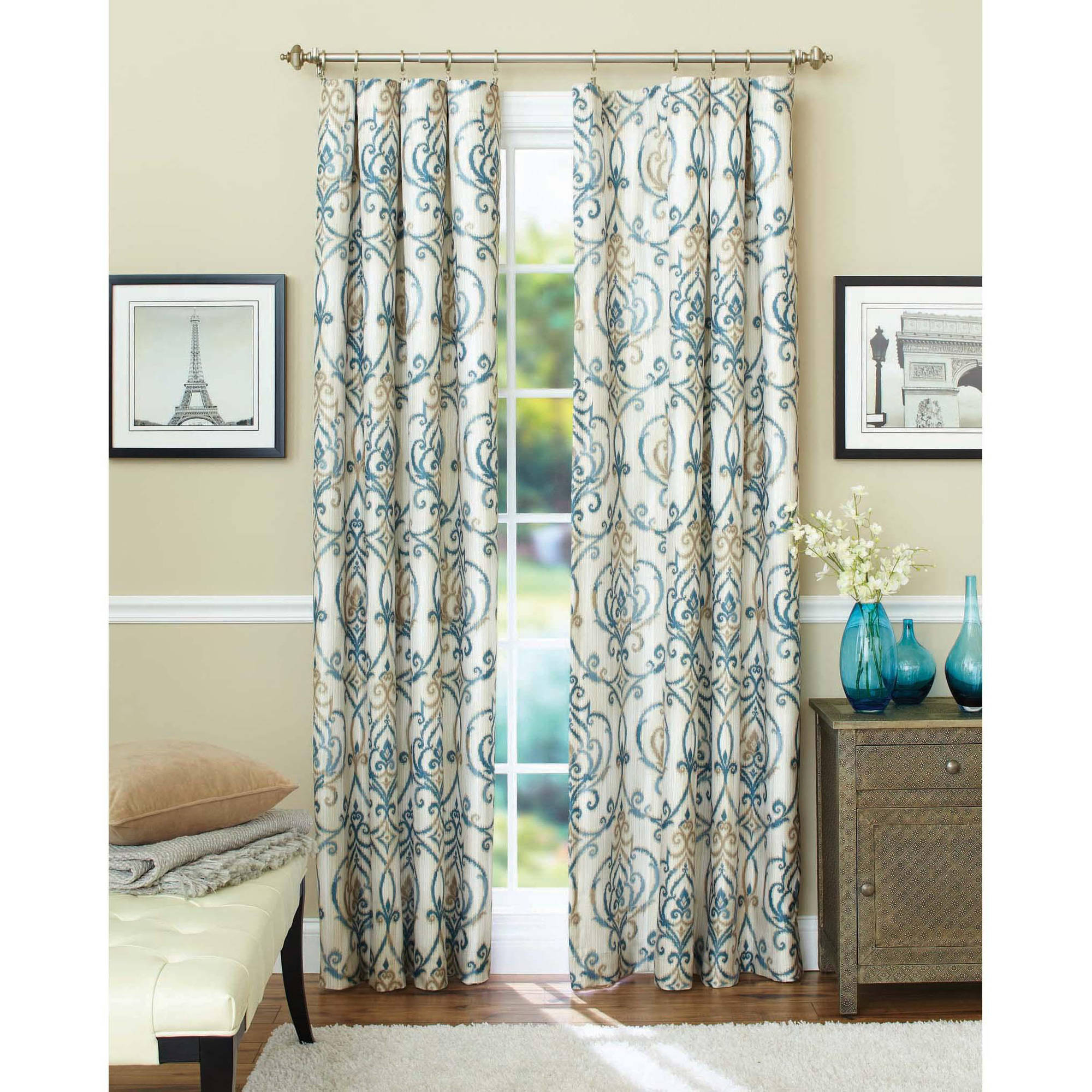 Inspirational Better Homes And Gardens Ikat Scroll Curtain Panel - Walmart with Awesome Walmart Living Room Curtains