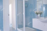 Inspirational Blue Mosaic Tiled Walls And Flooring In Modern Bathroom With Glass intended for Best of Blue Mosaic Bathroom