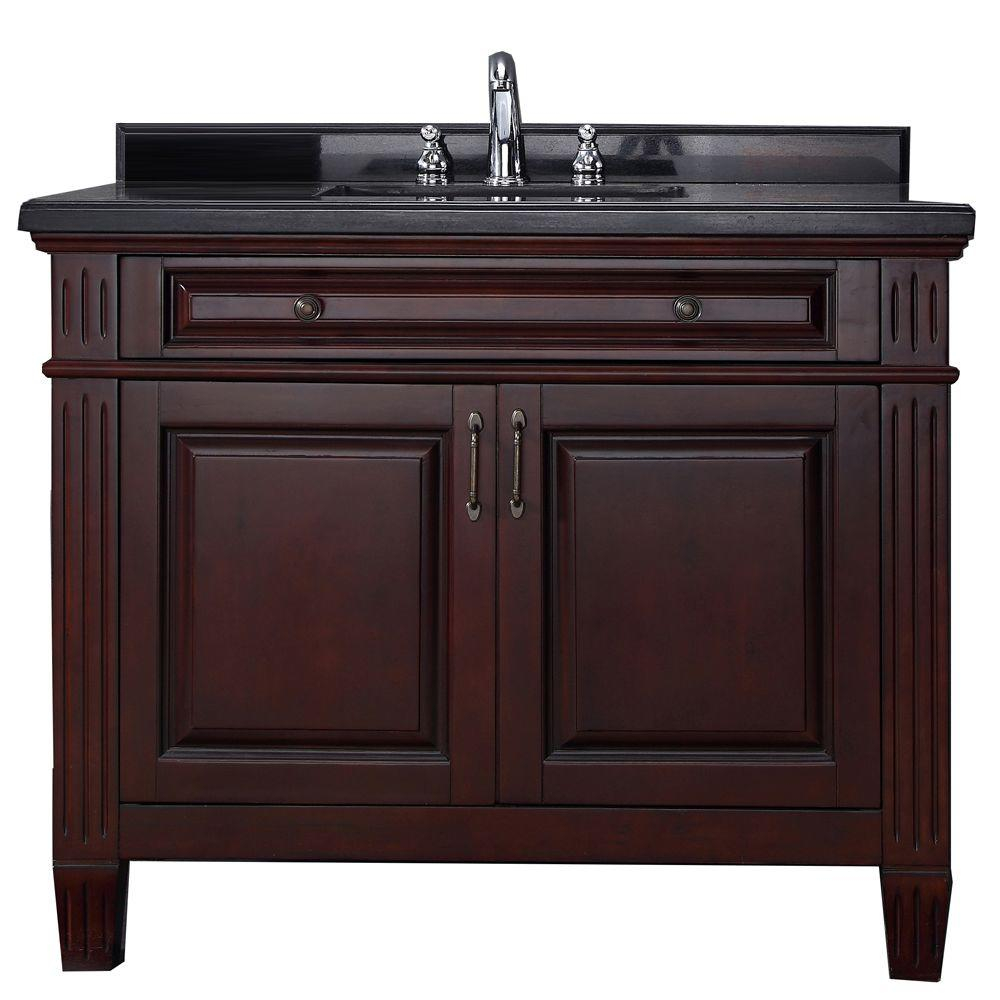 Inspirational Carsen 42 In. Vanity In Chocolate With Granite Vanity Top In Black regarding 42 In Bathroom Vanity