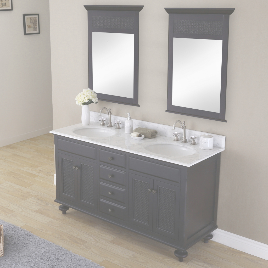 "Inspirational Dcor Design Carlson 60"" Double Bathroom Vanity Set With Mirror 